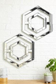 Juego de 2 espejos con diseño hexagonal