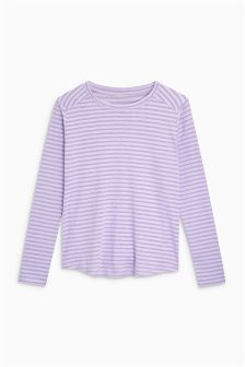 Sheer Stripe Long Sleeve Top