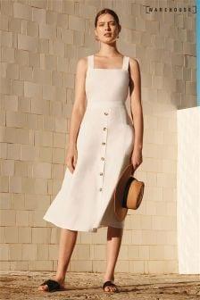 Warehouse White Linen Blend Button Through Dress