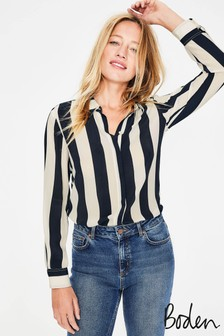 Boden Navy Stripe Silk Shirt
