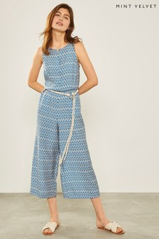 Mint Velvet Blue Gemma Print Belted Jumpsuit