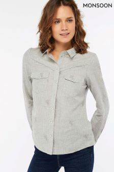 Monsoon Grey Elias Star Embroidered Shirt