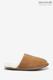 Signature Suede Sheepskin Lined Mule Slippers