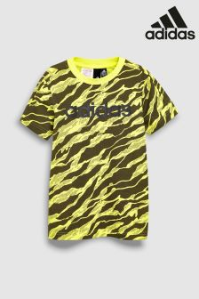 adidas Yellow Print Linear Tee