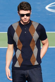Knitted Argyle Pattern Polo