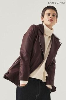 Mix/Lab Longline Luxury Leather Biker Jacket