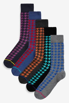 Dogtooth Pattern Socks Five Pack