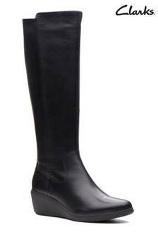 Clarks Black Un Tallara Esa Leather Wedge Long Boot
