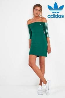 adidas Originals Green Cold Shoulder Dress