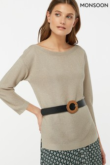 Monsoon Ladies Gold Olivia Ottoman Stitch Jumper
