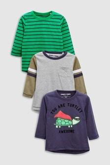 Long Sleeve Turtle T-Shirts Three Pack (3mths-6yrs)