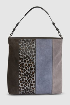 Leather Colourblock Hobo Bag