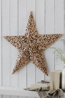 Wood Effect Star Plaque