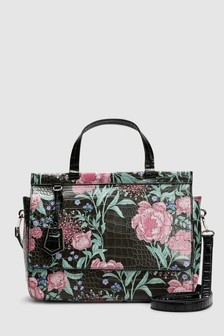 Floral Print Top Handle Tote Bag