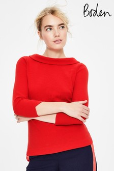 Boden Red Sarah Ottoman Top