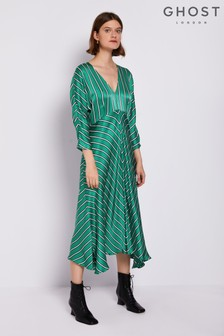 Ghost London Green Georgia Printed Satin Dress
