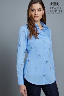 Hawes & Curtis Blue Fitted Embroidered Butterflies Shirt