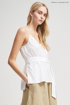 French Connection White Crepe Light Solid Belted Cami