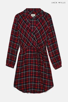 Jack Wills Red Millgate Checked Wrap Shirt Dress