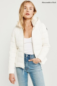 Abercrombie & Fitch White Hooded Padded Jacket