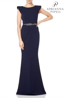 Adrianna Papell Midnight Beaded Crepe Dress