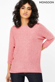 Monsoon Pink Dana Dipped Hem Linen Blend Jumper