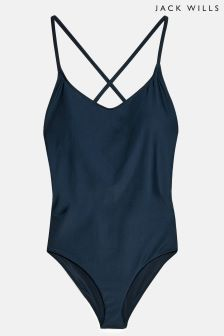 Jack Wills Navy Whitby Strappy Swimsuit