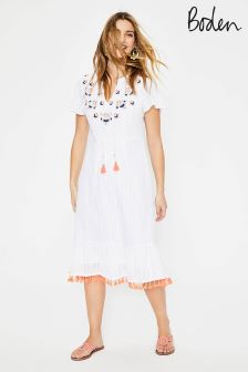 Boden Ivory Evelyn Embroidered Dress
