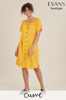 Evans Yellow Curve Button Through Dress