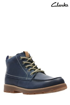 Clarks Navy Leather Comet Moon Stitch Lace Toddler Boot