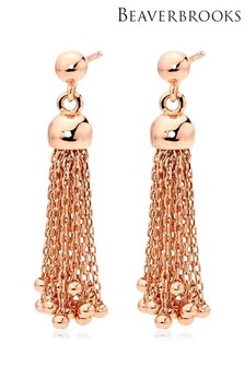 Beaverbrooks Silver Rose Gold Plated Tassel Earrings