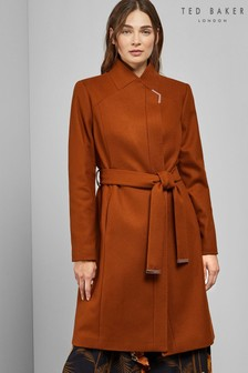 Ted Baker Brown Long Belted Wrap Coat