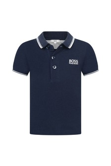Baby Boys Navy Cotton Pique Polo Top