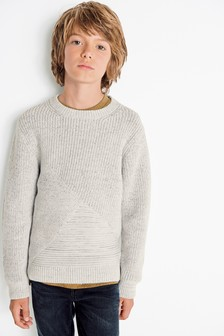 Textured Knit Crew Neck Sweater (3-16yrs)