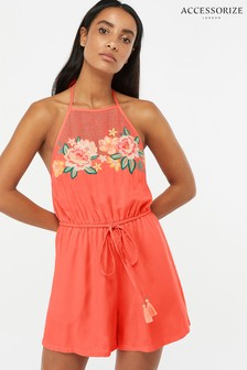 Accessorize Pink Embroidered Flower Playsuit
