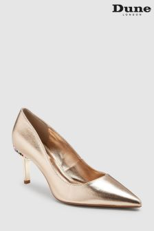 Dune Gold Bellowes Jewel Heel Low Court