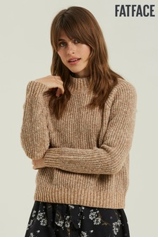 FatFace Brown Poppy Ribbed Jumper