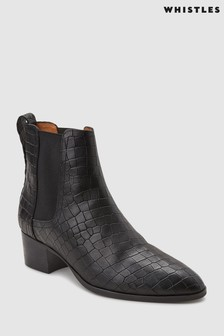 Whistles Black Daisley Croc Boot