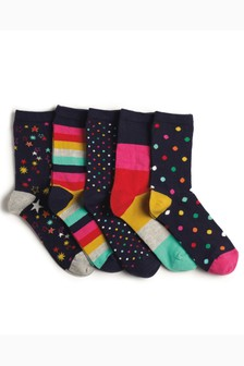 Bright Pattern Ankle Socks Five Pack