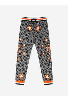 Boys Black Cotton Stars Print Joggers