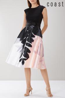 Coast Pink Drake Print Full Midi Dress
