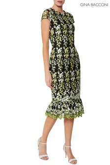 Gina Bacconi Green Beretta Embroidered Dress