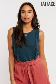 FatFace Green Copper Black Malaya Ruffle Cami
