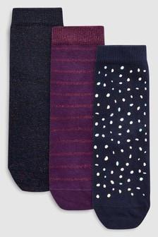 Набор из трех пар носков с блестящей отделкой (Подростки)