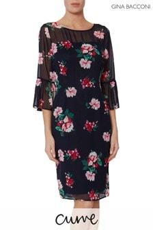 Gina Bacconi Black Fayla Floral Chiffon Dress