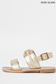 River Island Gold Plate Flat Sandals