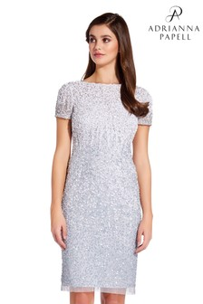 Adrianna Papell Silver Short Beaded Dress