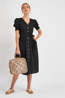 0d33501df52 Puff Sleeve Button Dress