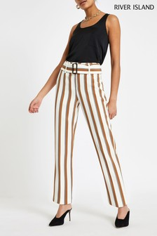 River Island Tan Striped Tapered Trouser