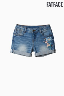 FatFace Blue Embroidered Denim Short